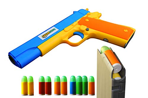 ZAHAR Toys - Realistic Size Toy Gun - Colt 1911 - 10 Colorful Soft Bullets - Ejecting Magazine - Slide Action Barrel – Training, Cosplay, Play – Toy Guns M1911 - Pistol with Soft Bullets