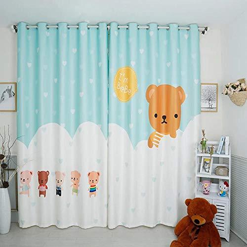CURTAINSCSR 3D gedruckte Vorhang Braunbär Tanzen Thermovorhang Verdunkelungsgardine Lichtundurchlässige Vorhang mit Ösen für Schlafzimmer Wohnzimmer Geräuschreduzierung 2Panel75x166cm