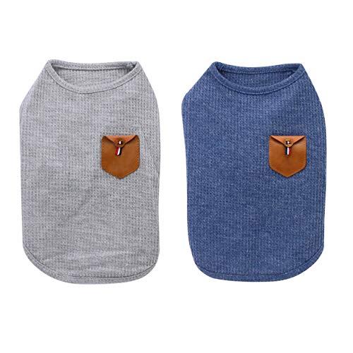 YAODHAOD Minimalistisches Hunde-T-Shirt, Hundekatzen-Kleidung, blau und grau, 100% Baumwolle, für Mini-Hund, kleinen Hund und Katze (2er Pack) (L-Geeignet für Katzen und Chihuahua, Blau und grau)