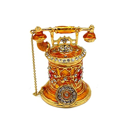 PJHFHU Teléfono Vintage Caja de baratijas Bisagrada Esmalte Pintado a Mano Joyería Adornos Teléfonos Decorativos Regalo for Decoración del Hogar, 2.6 * 2 * 2.8 Pulgadas (Color : Yellow)