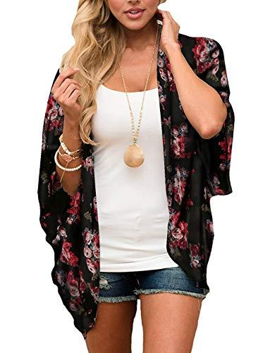 Chunoy Women Floral Kimono Cardigan Loose Short Sleeve Chiffon Cover Up Black Large