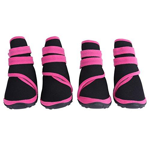 Scarpe morbide per Cani da Compagnia, Stivali Impermeabili per Cuccioli Scarpe Invernali da Cucciolo per Cani di Piccola Media Grande Taglia (S-Rosa)