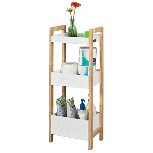 SoBuy® FRG226-WN Badregal in weiß/Kautschukholz Standregal Küchenregal mit 3 Ablagefächern BHT ca: 28x74x20cm