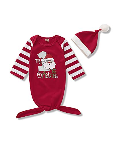 Newborn Baby Gown My 1st Christmas Nightgown Long Stripe Sleeve Sleeping Bag with Christmas Hat Baby Boy Girl Coming Home Outfits Set
