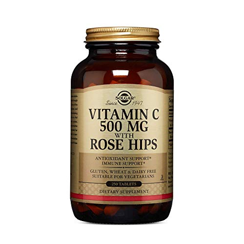 Solgar Vitamin C 500 mg with Rose Hips, 250 Tablets - Antioxidant & Immune Support - Overall Health - Supports Healthy Skin & Joints - Non GMO, Vegan, Gluten Free, Dairy Free, Kosher - 250 Servings