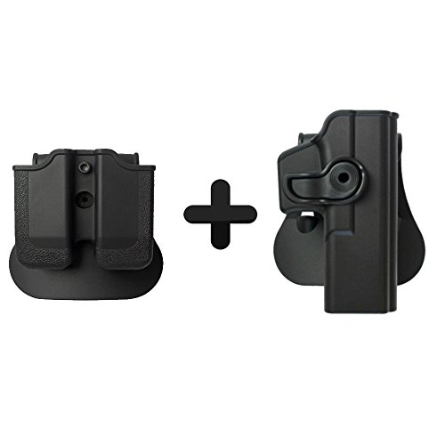 IMI Defense Retention Roto Tactical Holster + Double Mag Magazine Pouch For Glock 17 22 31