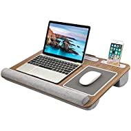 HUANUO Lap Desk - Fits up to 17 inches Laptop Desk, Built in Mouse Pad & Wrist Pad for Notebook, MacBook, Tablet, Laptop Stand with Tablet, Pen & Phone Holder - HNLD6