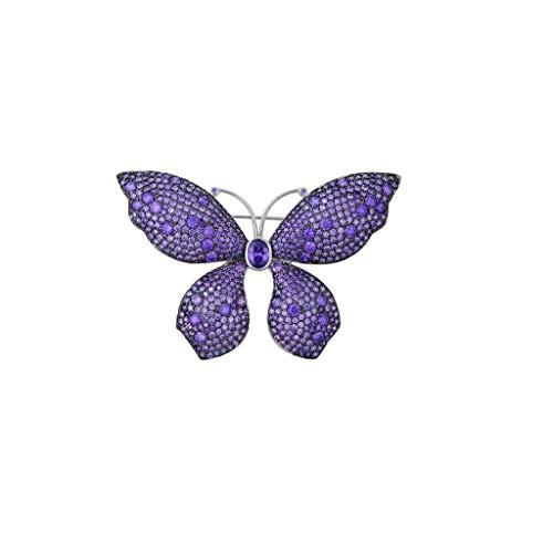length Broche de Mariposas Doradas y púrpuras, diseño Multifuncional de Cobre, Estilo Europeo y Americano, joyería de Ropa, Caja de Regalo 4.6x6.5cm (Color : Purple)