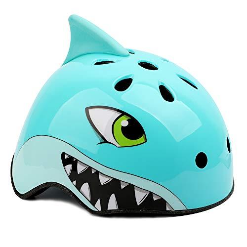 MEIZI Fahrradhelm Kinder Kinderfahrradhelm Kinder Helm Sporthelm Kinderhelme, Kinder Fahrradhelm Radhelm Jugendhelme (S:50-54CM, 2-5 Jahre alt, Blauer Hai)
