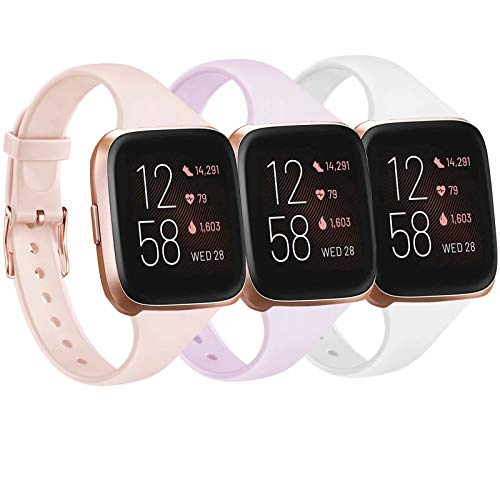 Tobfit Pack 3 Slim Bands Compatible with Fitbit Versa 2 Bands/Fitbit Versa/Fitbit Versa Lite/SE, Silicone Replacement Smartwatch Wristband for Women Men, Small, Lavender/Pink Sand/White