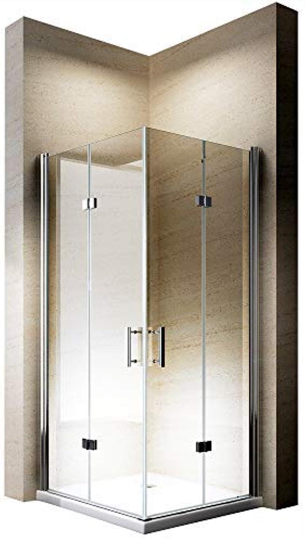 Duschabtrennung Eckeinstieg 100x100cm 8mm ESG-Glas Dusche EX213-Kombi, Zubehr  Ohne Duschtasse