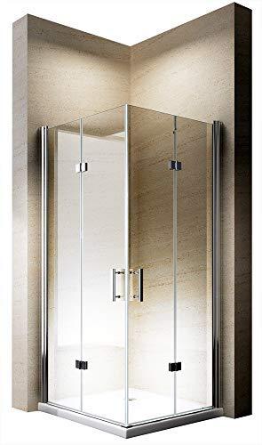 Duschabtrennung Eckeinstieg 90x90cm 8mm ESG-Glas Dusche EX213-Kombi, Zubehör: Ohne Duschtasse