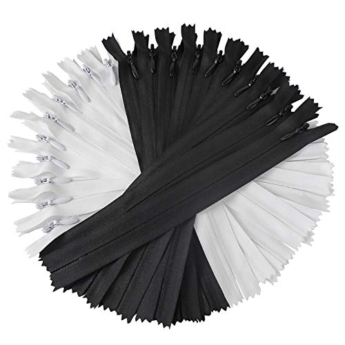 Anyuwen 20PCS Nylon Invisible Zippers, 7 Inches #3 Zippers for Sewing, Tailor DIY Sewing Crafts Tools for Home - Bags - Garment (Black and White, 10Pcs Per Color)