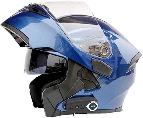 LOOSE Bluetooth Integrato Caschi del Motociclo, Motociclo Casco Integrale Bluetooth Flip up a Doppia Visiere modulare Motocross Caschi,Blu,M