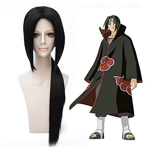QIYUN.Z Naruto Itachi Uchiha Longue Queue De Cheval Noire Droite Anime Cosplay Perruques De Cheveux De Parti