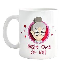 Oma Tasse - Geschenk für Omas - MyOma beste Oma der Welt Tasse inkl. GRATIS Glückwunschkarte - beidseitig bedruckte Oma Kaffeetasse - Geschenk für Frauen 50 / Geschenk für Frauen Geburtstag - Oma Geschenk von MyOma - SOFORT LIEFERBAR