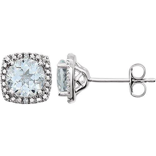 Pendientes redondos de plata de ley con piedra natal de diamante de aguamarina pulida de 6 mm