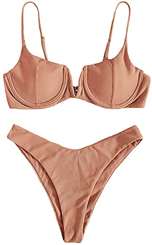 Yutdeng Set Bikini da Donna a Triangolo 2 Pezzi Costumi da Bagno Push Up Regolabile Imbottito Reggiseno Singolo Colore Swimwear Beachwear
