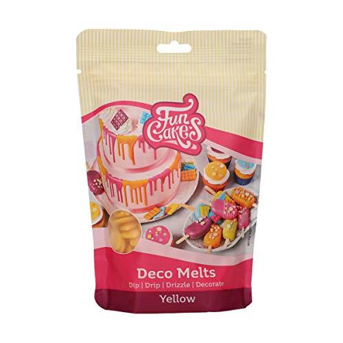 FunCakes Deco Melts gelb - tauchen, drippen, dippen und dekorieren! In der Mikrowelle schmelzen und in jede Form gießen, 250 g