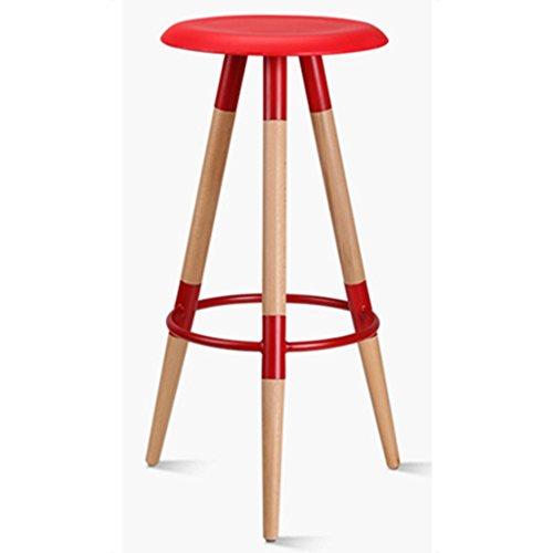 Zaixi Chaise de bar en bois minimaliste moderne de barre de ménage de barre de pp + de bois de tabouret de tabouret de mode 37 * 37 * 78.5cm (Couleur : Rouge)