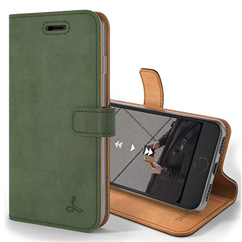 Snakehive Vintage Wallet for Apple iPhone 7 || Genuine Leather Wallet Phone Case || Real Leather with Viewing Stand & 3 Card Holder || Flip Folio Cover with Card Slot (Dark Green)