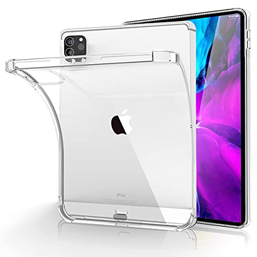 Case for iPad Pro 12.9 inch Case 2021 (5th Gen) Clear Shock Absorbing Flexible TPU Protective Cover Transparent Slim Compatible with Pencil for iPad Pro 12.9 2021/2020