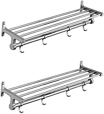 Taj Bathroom Accessories and Hardware Fittings Long Towel Rack (24 Inch/2 ft, Silver) - Pack of 2