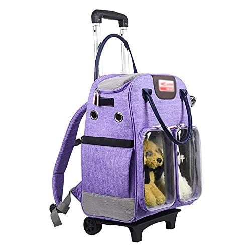 UniGiraffe Cat Bagage Box con Zaino per Ruote, Cane out Pack Car Carrier Portatile Borsa Gatto Portatile Traspirante Doppia Spalla Portatile Zaino Pet Trolley (Color : Purple, Size : 43 * 33 * 26cm)