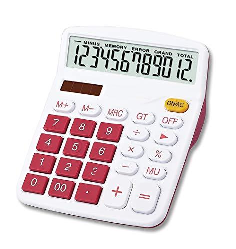Mengshen Calculadora Sobremesa Batería Solar de Doble Potencia, 12 dígitos Pantalla LCD Grande Calculadora Financiera Calculadora Comercial de función estándar para Oficina/hogar/Escuela