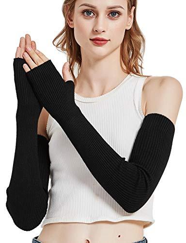 Novawo Lana caliente suave Manguitos guantes sin dedos