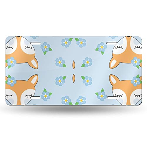 Fox And Flower Pattern Number Registration Plate Metal Stamped License Plate Novelty Car Tag