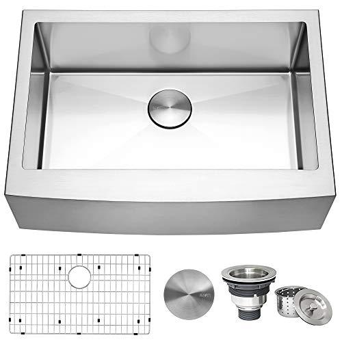 Ruvati 30-inch Farmhouse Apron-Front Kitchen Sink Stainless Steel Single Bowl
