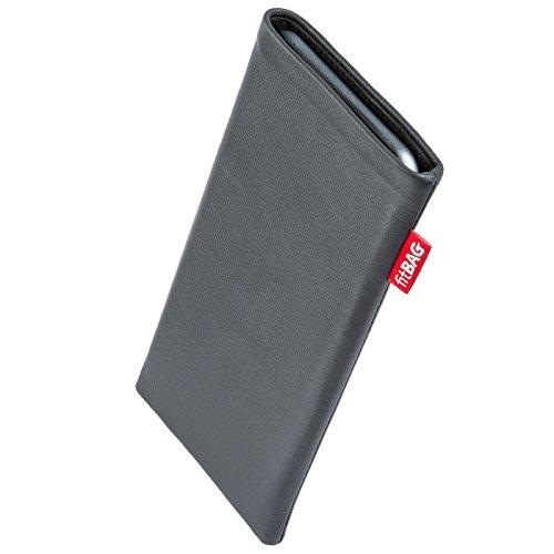 fitBAG Beat Grau Handytasche Tasche aus Echtleder Nappa mit Microfaserinnenfutter für Bea-fon Beafon SL240 | Hülle mit Reinigungsfunktion | Made in Germany