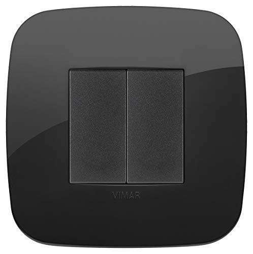 Vimar 0K03925.08 Arké Kit comando connesso senza fili e senza batterie, VIEW Wireless standard Bluetooth completo di supporto,tasti,placca 2M, Nero