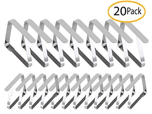 Tablecloth Holders Clips, 8 Large & 12 Standard Sized Table Cover Clamps, Stainless Steel Clip | Durable, Windproof, Rust-Free (20 Pcs, Mixed)