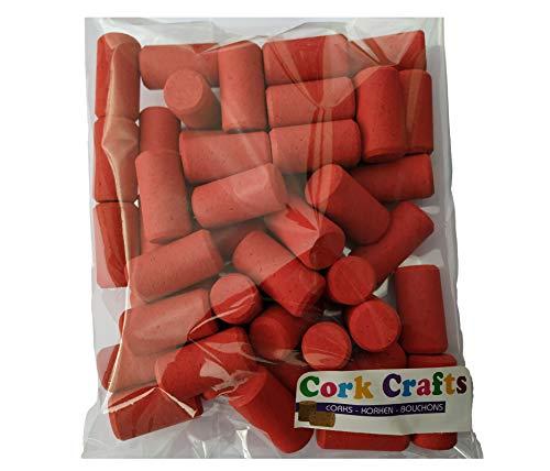 Cork Crafts Korken - 50 Farbiger Weinkorken 23 mm x 44 mm - Flaschenkorken zum Basteln - Dekorativ und Kreativ (Rot)