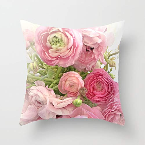 Rdsfhsp Shabby Chic Cottage Ranunculus Peonies Roses Floral Print Cushion Covers Throw Pillow Covers For Decorating Sofa Car Bedroom Etc Or Gifts Cotton 18x18 In