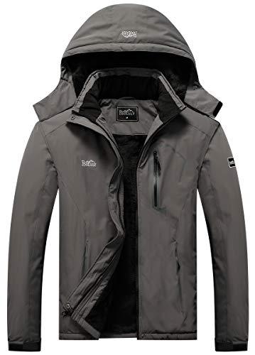 Pooluly Men's Ski Jacket Warm Winter Waterproof Windbreaker Hooded Raincoat