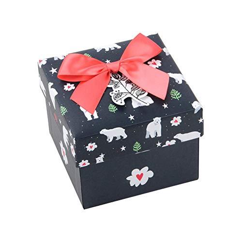 Honton Caja de regalo con tapa, anillos de exhibición de joyas de papel, relojes pequeños, collares, pendientes, caja de regalo de 10,5 x 10,5 x 8,5 cm, azul