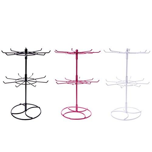 Wyi Schmuckständer aus Metall, 2 Ebenen, drehbar, für Halsketten, Ohrringe, Ringe, 3 Stück
