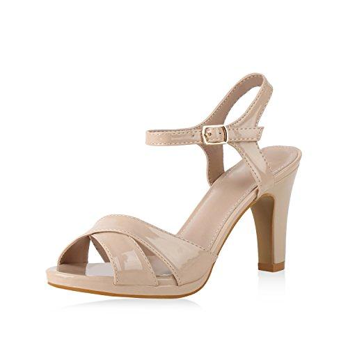 SCARPE VITA Damen Pumps Riemchensandaletten Sandaletten High Heels Leder-Optik Schuhe Stiletto Partyschuhe Sommerschuhe 159962 Nude 38