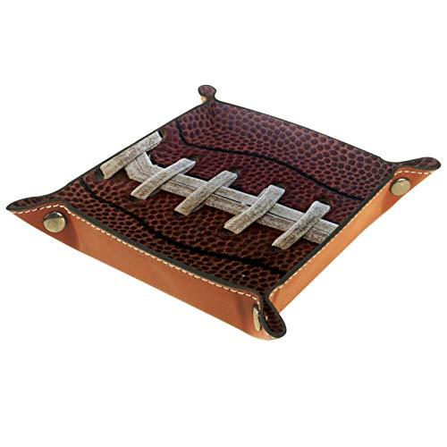 XiangHeFu Ledertablett,Schmucktablett Dekoplatte,American Football Schnürsenkel,Leder Tablett,Aufbewahrungstablett für Schmuck Schlüssel Armbanduhr Wohnzimmer Tisch Küche