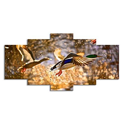 ZEMER Leinwanddrucke 5 Stücke Mehrere Bilder Wandkunst - 5 Panels Wild Ducks Jagdbilder Malerei Auf Leinwand Gedruckt Poster Wall Decor Geschenk Giclee,A,30x45x2+30x60x2+30x75x1