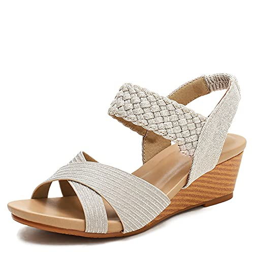 Sandalias De Mujer Verano Tacón Inclinado Zapatillas Playa Raya Romana Tejido Elástico Confort Plano Cruzado Talla Grande Cremallera Trasera Casual Zapatos Para Caminar Antideslizante Ancho Va