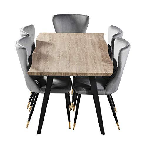 P&N Homewares® Juego de comedor Rocco New York (mesa gris y negro, sillas grises y doradas) | comedor | muebles | sillas de comedor | silla de comedor de terciopelo | mesa moderna | diseño abstracto