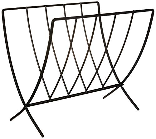 Spectrum Diversified Seville Rack, Sturdy Steel Periodical Home & Office Organization, Chic Storage for Magazines, Records, Newspapers, Artwork & More, Black