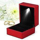 ZJchao Caja de Anillo de Moda de 4 Colores, Caja de Almacenamiento de Anillo con luz LED, Vitrina de joyería, Regalo para propuesta, Compromiso, Boda, Elementos Sorpresa Secretos(Rojo)