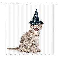 笑って帽子のハロウィーンの猫浴室の窓の装飾のための生地のホックが付いているポリエステル防水シャワー・カーテン60X72in