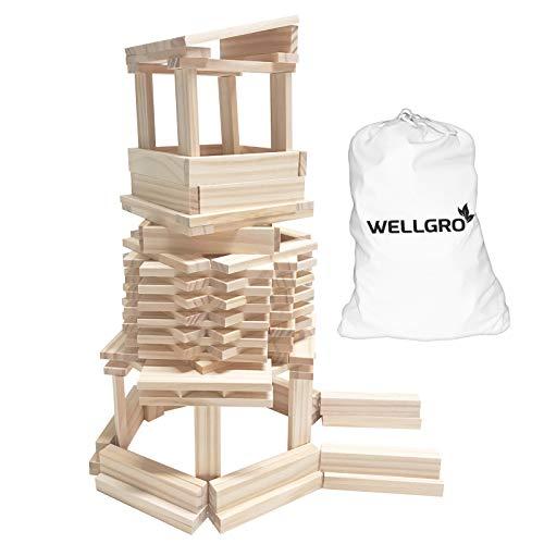 WELLGRO Natur Holzbausteine - Holzsteine zum Bauen - naturfarbene Bauklötze inkl. Aufbewahrungsbeutel-...