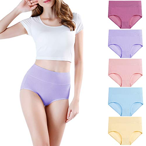 wirarpa Women's Cotton Underwear High Waist Briefs Full Coverage Panties Ladies Comfortable Underpants 5 Pack Assorted 2X-Large